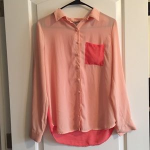 Two-Toned Coral Button Long Sleeve. Mesh Back.